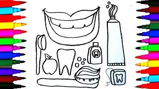 How to Draw Dentist Kit l Dental Care Coloring Drawing Pages Videos for Kids l Art l Colored PENS