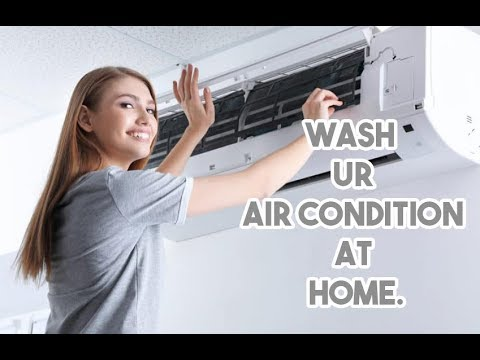 Gree Air Condition Cleaning  Method With Water Gun At Home.