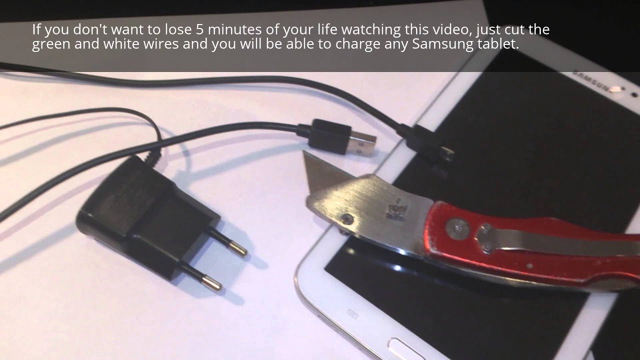 medium resolution of how to charge your galaxy tablet with usb port or any charger this is the best solution youtube
