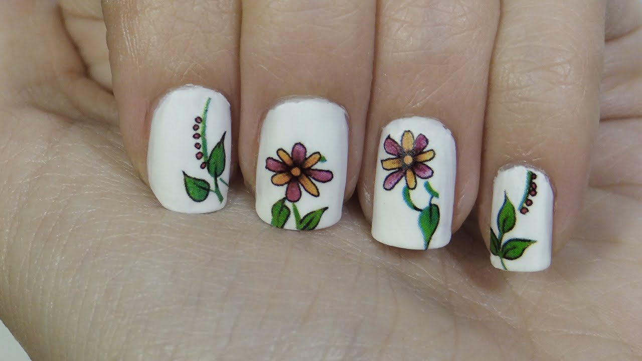 Uñas con tatuajes o tattoo nails faciles - YouTube