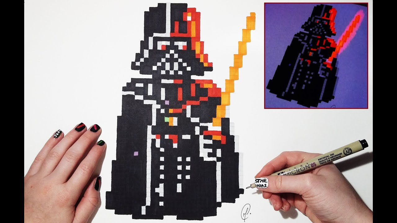 Amazing Star Wars Drawing Darth Vader Pixel Art Bonus