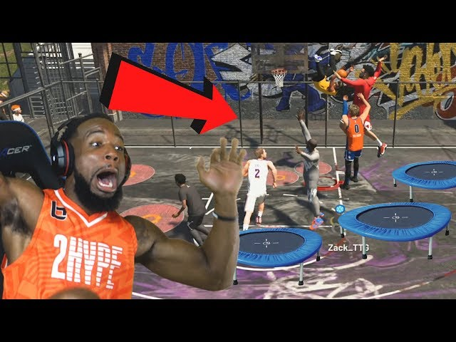 *New* Caged TRAMPOLINE PARK! 2Hype w/ Troydan! NBA 2K19 Park Mode