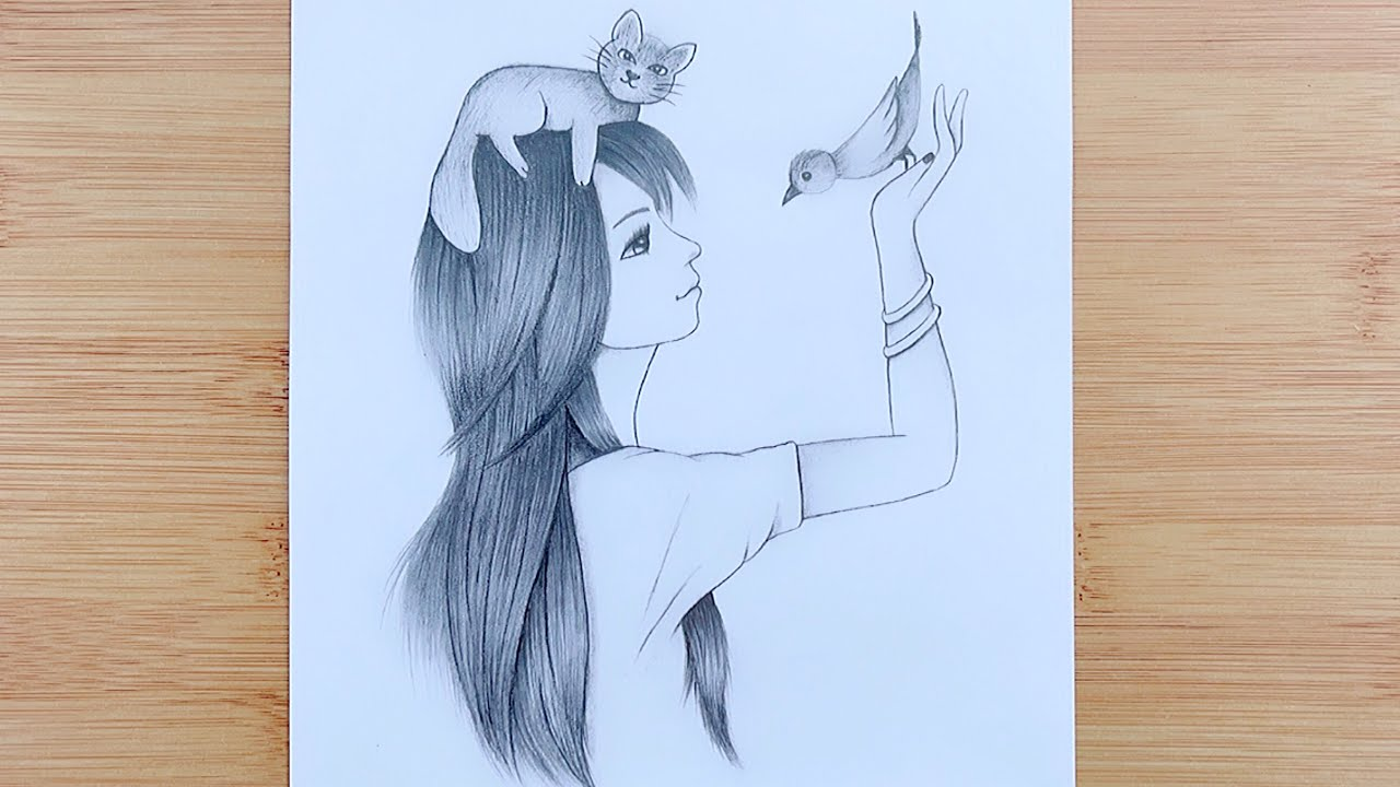 Draw the Girl is playing with Birds and cats / Art Tutorial