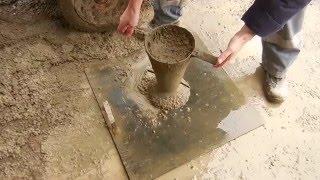 замер расплыва конуса бетонной смеси В50F150W12 Р6 (65-68 см)
