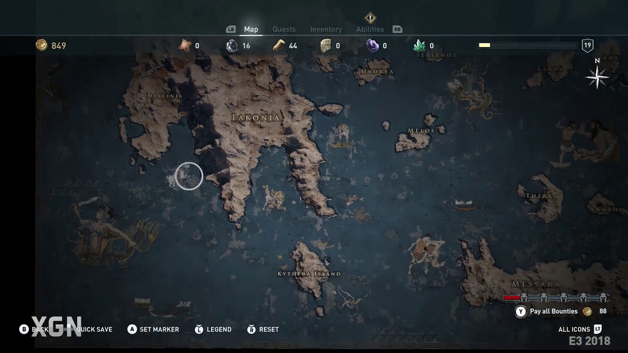 Assassin S Creed Odyssey Gameplay Map Youtube
