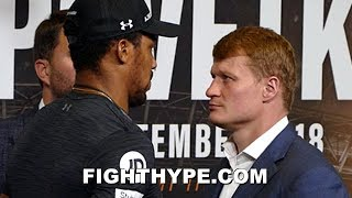 ANTHONY JOSHUA STARES DOWN STONE-FACED ALEXANDER POVETKIN DURING INTENSE FACE OFF