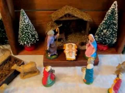 christmas antique nativity home decor decorating display