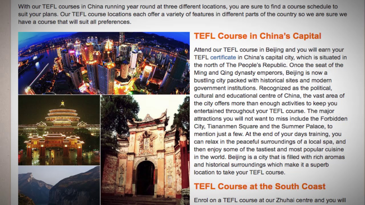 Tefl Tesol Course In China Teach Live Abroad
