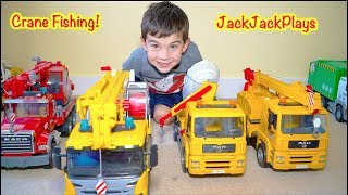 Pretend Play Fishing with Crane Trucks: Playing with Cousins + Dogs