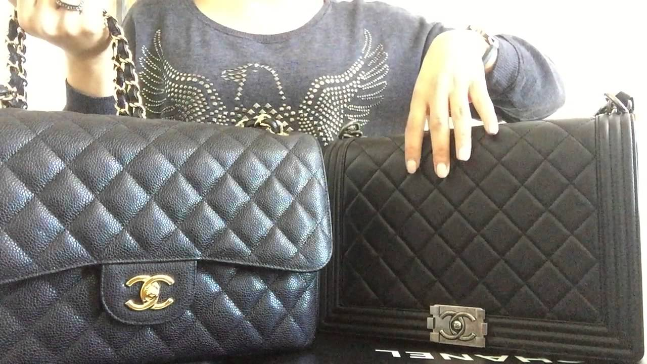 Comparison  Chanel new medium boy bag vs. Chanel classic jumbo - YouTube d567e53379042