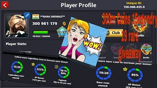 8 Ball Pool - GIVEAWAY 15 LEGENDARY CUES + 300 MILLION COINS ACCOUNT || SHEHRAZ 8BP