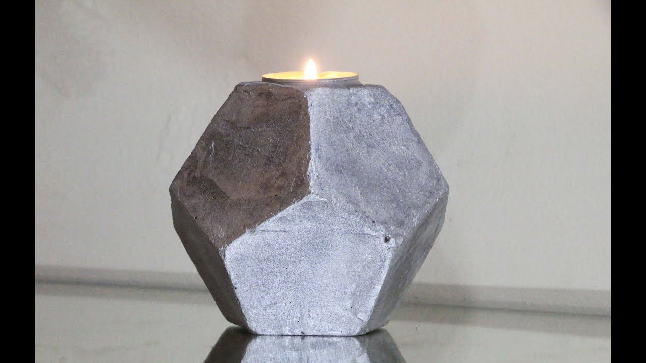 DIY Cement Planters | Cement Geometric Candle Holder! ( Pentagonal Shape)    YouTube