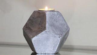 DIY Cement Planters | Cement Geometric Candle Holder! ( Pentagonal Shape)