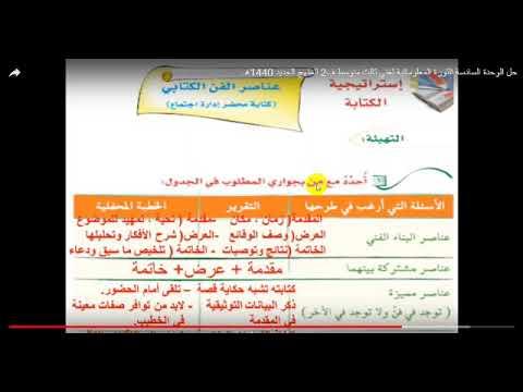 لغتي الصف الثالث المتوسط ف2 عناصر الفن الكتابي إعداد أ أحمد رضا Youtube