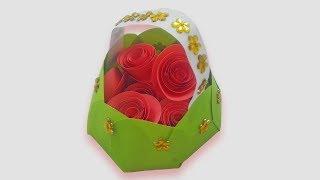 Paper Basket   How To Make Paper Flower Basket Craft   Paper Crafts
