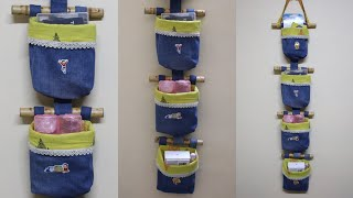 DIY Jeans/Denim Organizer - Old Jeans Reuse Idea