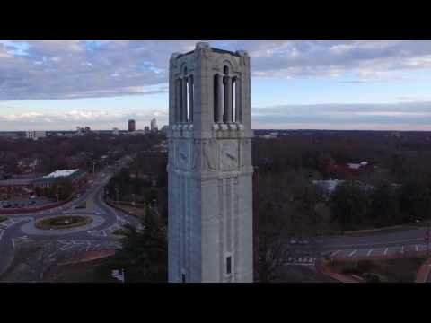 Drone footage of NC State University campus