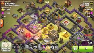 Ataque de cv 9 em cv9 - Clash of clans . 3 estrelas. ***