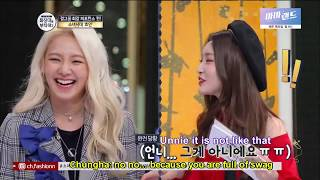 [Eng Sub] Hyoyeon is joking with Chungha and Chungha thinks Hyo is full of swag - Stafaband