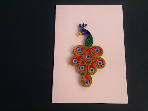 how to make paper quilling peacock  How to make 3d Greeting Quilling Card Birthday Ideas # 101