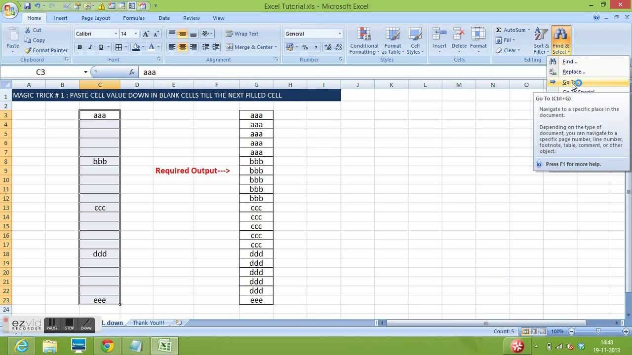 Excel Magic Trick # 1 : Copy cell value and paste down the cells till next  filled cell