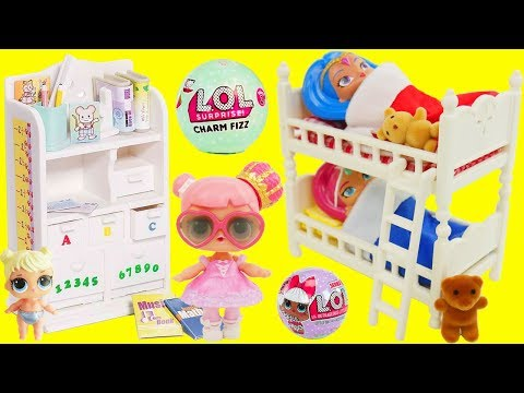 LOL Surprise Dolls New Bunk Beds Shimmer and Shine Color Changing with Charm Fizz Fizzy Bomb Balls!