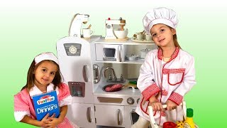Elya and Adelya Toy Kitchen Pretend Play #kidsshow #pretendplay