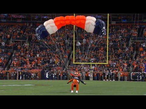 Denver Broncos parachute team fire up fans with risky stunts
