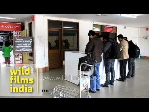 Visitors fill Inner Line Permit at Lengpui airport, Mizoram