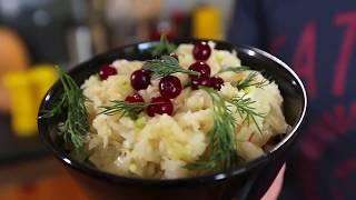 Cалат с квашеной капустой - рецепт. Капуста с хреном. Постное меню