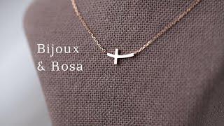 14k Rose gold Cross necklace (…