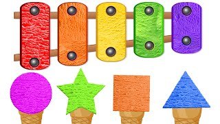 KidsCamp - Learn Colors And Shapes With Ice Cream Scoops of Shapes On A Color Ice Cream Xylophone