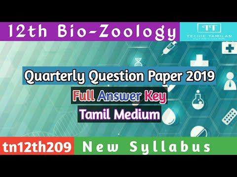 12th Bio-Zoology Quarterly Question Paper Full Answer Key (Tamil Medium) | SVB | 2019 To 2020