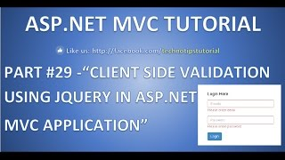 Part 29 - Client side validation using JQuery in Asp.net MVC | Easy steps