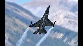 F 16 Falcon In the Stunning mountains of Switzerland