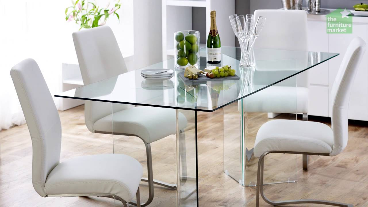 Geo Glass Clear Rectangle 6 Seater Dining Table Youtube