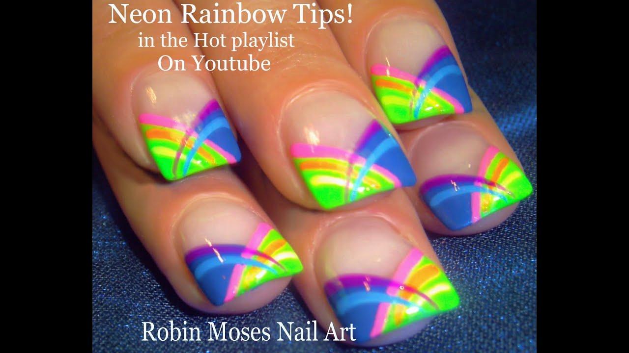 HOT Nails! Neon Rainbow Stripes Nail Art Tutorial   Short ...