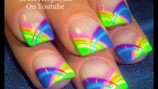HOT Nails! Neon Rainbow Stripes Nail Art Tutorial | Short Summer Nail Design