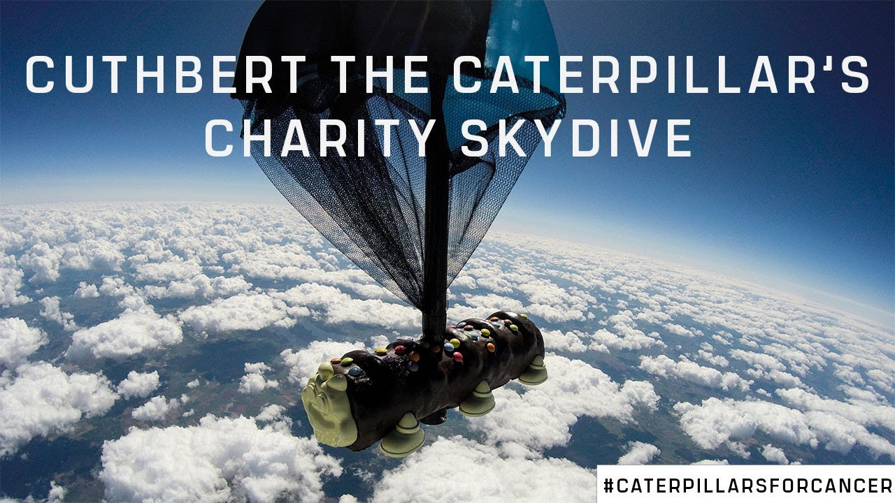Cuthbert's charity skydive | The world's first caterpillar cake skydive for charity