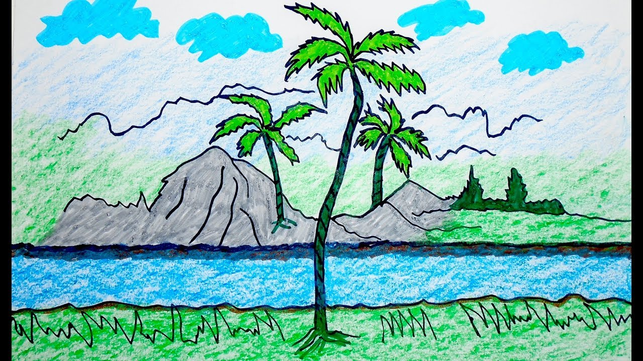 How to drawing Scenery, scenery of mountain, Coloring Pages VIDEO ...