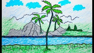 How to drawing Scenery, scenery of mountain, Coloring Pages VIDEO FOR KIDS