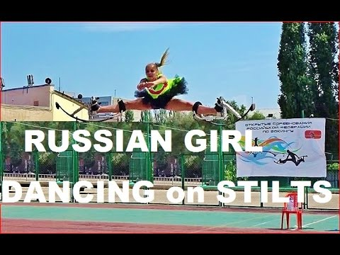 Russian Beautiful Girl, Dancing on Jumping Stilts