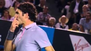 Federer Yells Toward Murray   Australian Open