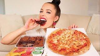 PAPA JOHN'S CHEESE PIZZA AND CHOCOLATE BROWNIE MUKBANG + Q&A