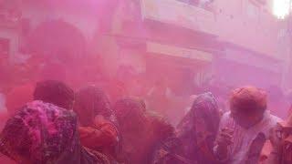 Mathura: Locals celebrate Lathmar Holi in Nandgaon