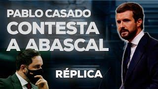 Pablo Casado contesta a Abascal en el debate de la moción de censura.