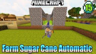 Membuat Sugar Cane Farm Automatic- Minecraft Survival Indonesia #15