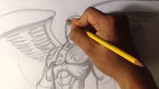 Angel Warrior Sketch - Draw Fantasy Art