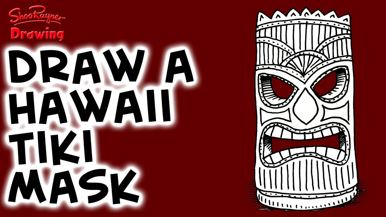how to draw a hawaiian tiki mask easy step by step for beginners
