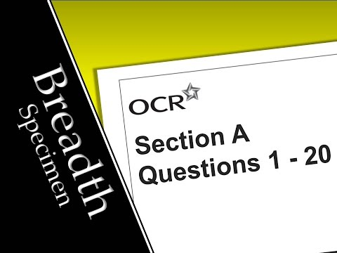OCR Breadth in Physics Specimen Paper | Q1-20 Multiple Choice Answers